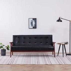 Sofá de 3 lugares couro artificial preto