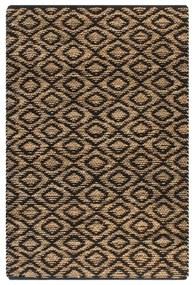 133211 vidaXL Tapete de juta tecido à mão 120x180 cm natural e preto