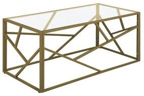 Mesa de centro dourada com tampo de vidro ORLAND