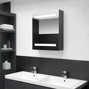 326482 vidaXL Armário espelhado casa de banho LED 50x14x60cm cinzento