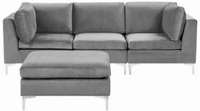 Sofá de canto de 3 lugares em veludo cinzento com repousa-pés EVJA