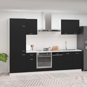 3067632 vidaXL 7 pcs conjunto armários de cozinha contraplacado preto