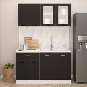 3067656 vidaXL 4 pcs conjunto armários de cozinha contraplacado preto
