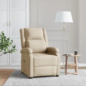 248697 vidaXL Cadeira de massagens reclinável tecido creme