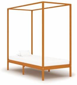 Estrutura de cama com toldo 90x200 cm pinho maciço castanho mel
