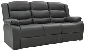 288507 vidaXL Sofá reclinável de 3 lugares couro artificial cinzento