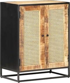 Aparador 60x35x75cm madeira de mangueira áspera e palha natural