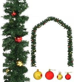 Grinalda de Natal decorada com enfeites 20 m