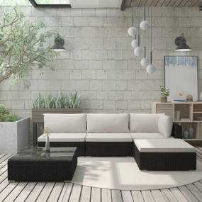 5 pcs conjunto lounge de jardim c/ almofadões vime PE preto