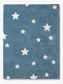 Tapete tufado Stars azul escuro liso com motivo