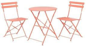 Conjunto de jardim em aço mesa e 2 cadeiras coral FIORI