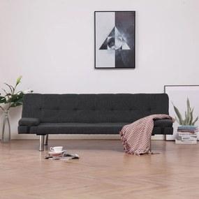 282184 vidaXL Sofá-cama com duas almofadas poliéster cinzento escuro