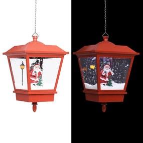 289928 vidaXL Candeeiro de teto c/ luzes LED e Pai Natal 27x27x45 cm vermelho