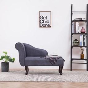 281372 vidaXL Chaise longue camurça artificial cinzento