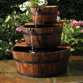 401356 Ubbink Conjunto de cascata de jardim, 3 barris de madeira,