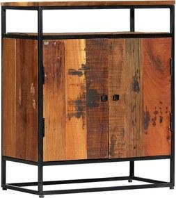 Móvel lateral 60x35x76 cm madeira recuperada maciça e aço
