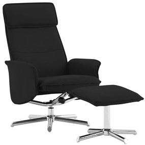 289836 vidaXL Cadeira reclinável c/ apoio de pés couro artificial preto