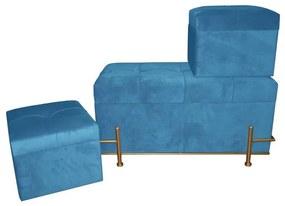Banqueta DKD Home Decor Azul Poliéster Espuma Metal Madeira MDF (3 pcs) (80 x 40 x 42 cm)