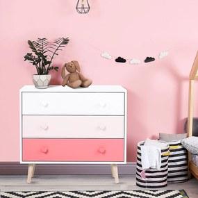 HOMCOM Cómoda infantil com 3 gavetas Cómoda com pernas para roupas ou brinquedos cor Rosa
