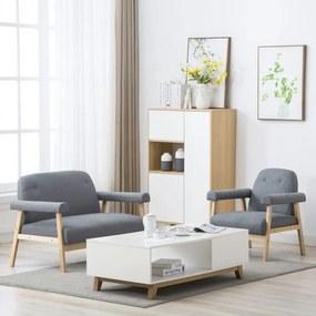 275207 vidaXL Conjunto de sofás para 3 pessoas 2 pcs tecido cinzento claro