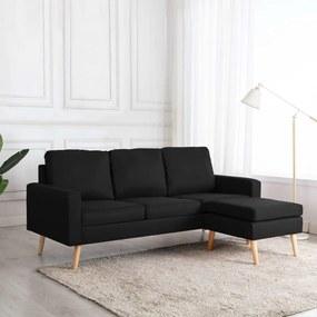 Sofá de 3 lugares com apoio de pés tecido preto