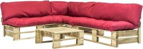 Sofás de paletes jardim 4 pcs almofadões vermelhos madeira