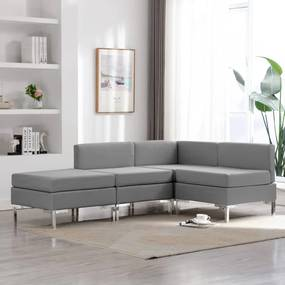 3052729 vidaXL 4 pcs conjunto de sofás tecido cinzento-claro