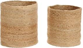 Conjunto cestos de arrumação 2 pcs juta artesanal natural