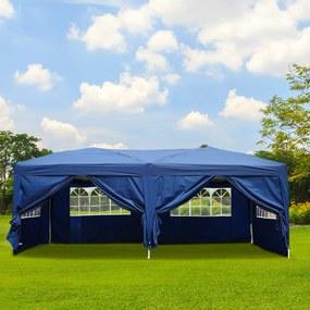 Outsunny Pérgola de Jardim 6x3m com janelas e cortinas - Azul escuro - Tecidos de poliéster e tubos de aço