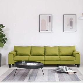 287095 vidaXL Sofá de 4 lugares em tecido verde