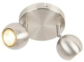 Foco redondo retro aço com placa de teto 2 lâmpadas - Gissi Moderno