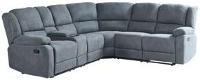 Sofá de canto reclinável manual em tecido cinzento escuro ROKKE