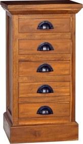 Armário com 5 gavetas 35x30x60 cm madeira de teca maciça