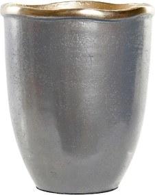 Vaso DKD Home Decor Prateado Alumínio (16 x 16 x 19 cm)