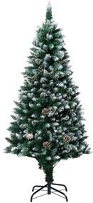 321016 vidaXL Árvore de Natal artificial com pinhas e neve branca 180 cm