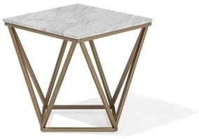 Mesa de apoio em mármore com pés dourados VISTA