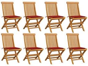 3072923 vidaXL Cadeiras de jardim c/ almofadões vermelhos 8 pcs teca maciça