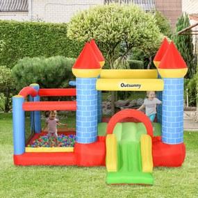 Outsunny Castelo inflável infantil com escorrega cama de salto insuflador e bolsa de transporte para interior e exterior 300x275x210 cm Multicolor
