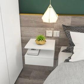 HOMCOM Conjunto de 2 Mesas de Cabeceira Flutuante com 1 Gaveta e Prateleira Aberta com Desenho Moderno Montado na Parede 35x32x22,5cm Branco