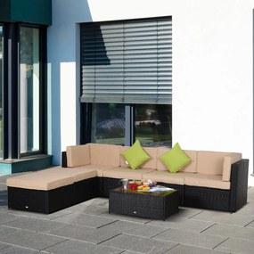 Outsunny Conjunto de móveis de jardim de vime 7 peças mesa Sofás Tamboretes com almofadas