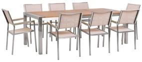 Conjunto de jardim mesa de madeira de eucalipto e 8 cadeiras em fibra têxtil creme GROSSETO