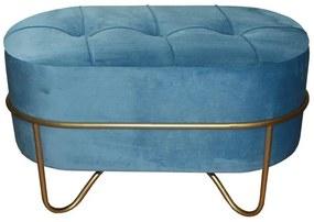 Banqueta DKD Home Decor Azul Poliéster Espuma Metal Dourado Madeira MDF (72 x 39 x 41 cm)