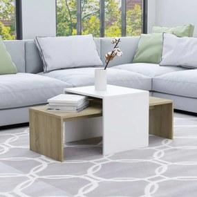 802917 vidaXL Conjunto mesas centro 100x48x40cm contraplacado branco/carvalho