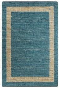 133734 vidaXL Tapete artesanal em juta azul 80x160 cm