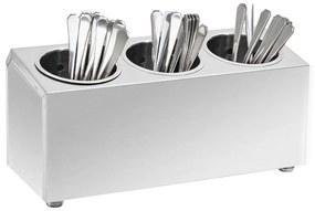 51226 vidaXL Porta-talheres 3 escorredores retangular aço inoxidável