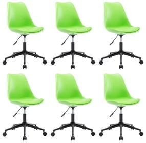 276188 vidaXL Cadeiras de jantar giratórias 6 pcs couro artificial verde