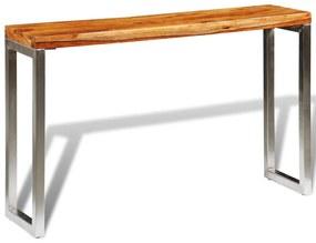 242125 vidaXL Mesa consola c/ pernas de aço madeira sheesham sólida