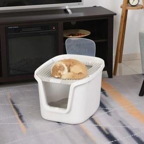 PawHut Caixa de areia para gatos com porta dupla Caixa desodorizante de carvão ativado Pá Equipada Amplo espaço 55,5x44,5x38,3 cm cinza branco