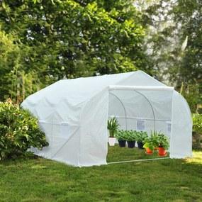 Outsunny Estufa Plástico no jardim para plantas Branco 350x300x200cm