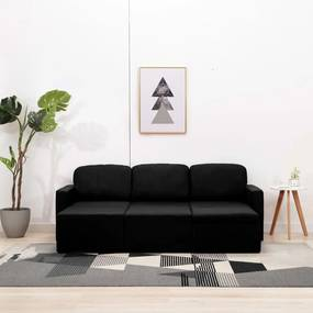 288792 vidaXL Sofá-cama modular de 3 lugares tecido preto